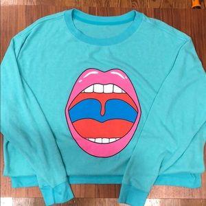 Wildfox big mouth sweatshirt (oversized small)